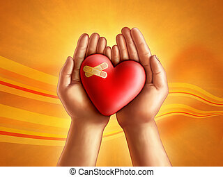 Helping hands - Hands holding a broken hearth, care and...