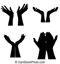 Helping hands - four different silhouettes of pairs of hands...