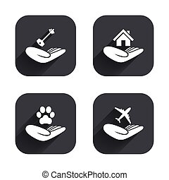 Helping hands icons. Protection and insurance. - Helping...