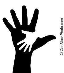 Helping hands illustration vector