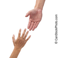 helping hands isolated on the white background