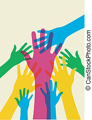 multicolored hands illustration over a light background. Vector file available.