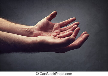 Helping hands or begging for help - Hands reaching out...
