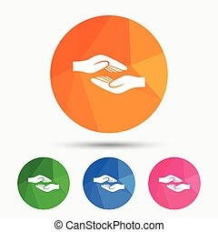 Helping hands sign icon. Charity or endowment.