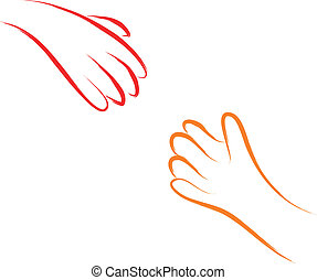 two hands helping concept vector