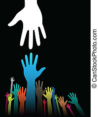 Helping Hands - Vector background illustration with helping ...