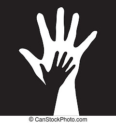 Helping hands. Vector illustration on black background