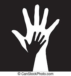 Helping hands. Vector illustration on black background