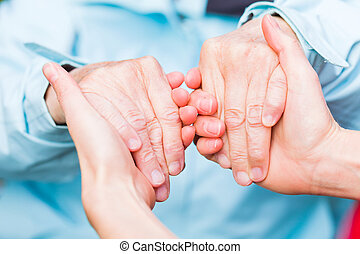 Helping hands - Young carer giving helping hands for the ...