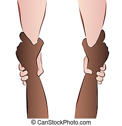 Interracial cooperation - saving hands - rescue grip. Isolated vector illustration on white background.