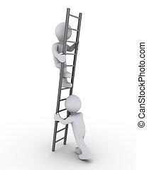 Helping to climb the ladder - 3d person is helping another...