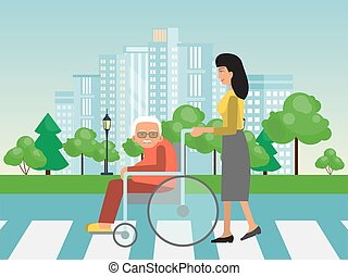 Helping to disabled people on cross road. Assistance to old on wheelchair vector illustration. Woman helps to elderly on wheelchairs to cross road.