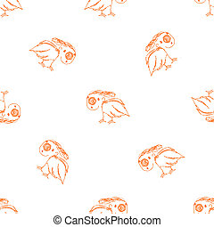 Helpless Bird Sketch Seamless Pattern