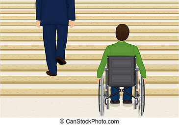 Disabled young man trapped in a wheelchair, looking at the stairs ahead and feeling helpless. Vector file saved as EPS AI8, all elements labeled, grouped and layered for easy editing.