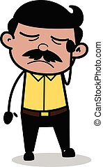 Helpless - Indian Cartoon Man Father Vector Illustration
