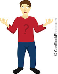 Helpless undecided man - Simple isolated illustration of a...