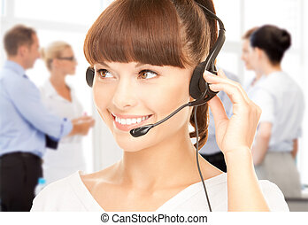 helpline, 操作員, 由于, 頭戴收話器, 在, 呼叫中心
