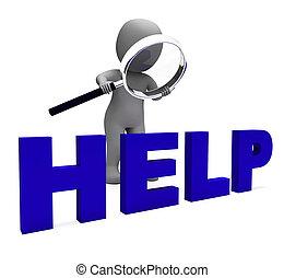 helpline, aide, soutien, assister, caractère, ou, helpdesk, spectacles