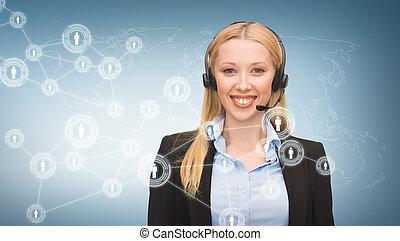 helpline operator and virtual screen - business,...