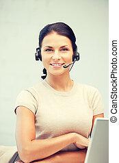 helpline, operator, z, laptop komputer