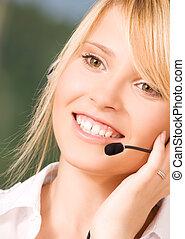 helpline - bright picture of friendly female helpline...