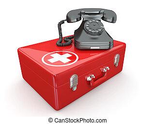 helpline.services., telefon, på, medicinsk kit