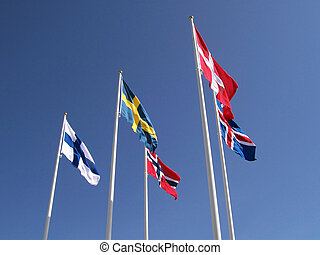 The five flags of the scandinavien nations of Sweden, Denmark, Norway, Finland & Iceland.