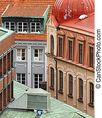 HELSINGBORG, SWEDEN - OCTOBER 06, 2020: An elevated view of the city of showing some of the different architectural details and styles.