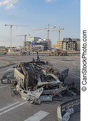 Helsingborg Oceanhamnen with Crashed Car