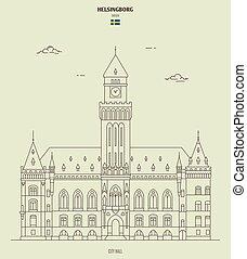 helsingborg, sweden., repère, hôtel ville, icône