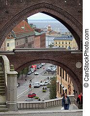helsingborg, vista elevata, attraverso, passaggio ad arco