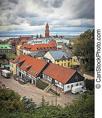 helsingborg, vista elevata, città
