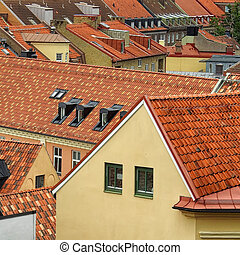 helsingborg, vista elevata, tetti, relativo