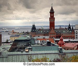 helsingborg, vista elevata, traffico, traghetto, esposizione