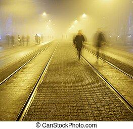 helsink, promenade, trottoir, rue, nuit, long