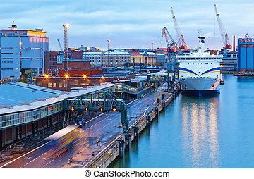 helsinki, avond, aanzicht, porto, finland