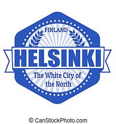 Helsinki capital of Finland label or stamp