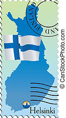 Helsinki - capital of Finland. Stamp