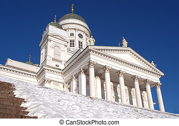 Helsinki cathedral on the main square. Sunny day. View from...