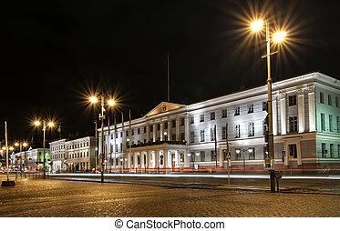 Helsinki city center at night. Finland.