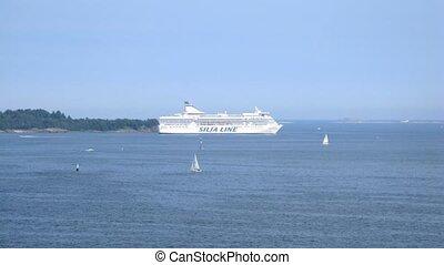 Silja Line cruise liner pass by - HELSINKI, FINLAND - JUNE ...
