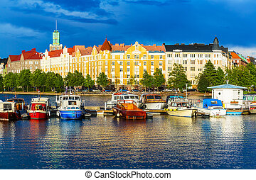 Helsinki, Finland - Beautiful summer scenery panorama of the...