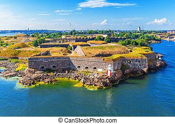 helsinki, finlande, (sveaborg), forteresse, suomenlinna