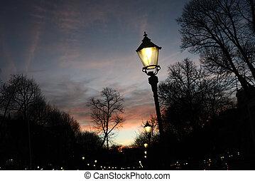 helsinki, lumière, finlande, esplanade, rue, nuit