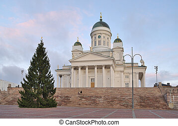 Helsinki. Senate Square at dawn before Christmas - Helsinki...
