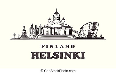 Helsinki hand drawn vector illustration. Isolated on white background.