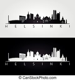 Helsinki skyline and landmarks silhouette, black and white...