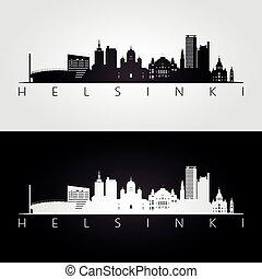Helsinki skyline and landmarks silhouette, black and white...