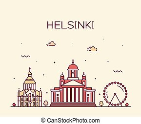 Helsinki skyline Finland vector city linear style