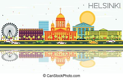 Helsinki Skyline with Color Buildings, Blue Sky and Reflections.